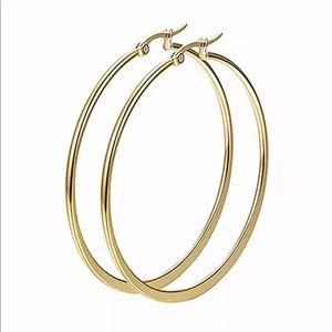 Gold Classic Hoop Earrings 50mm diameter